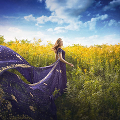 The Winds of Summer (Robert Cornelius Photography) Tags: girl glow gorgeous beautiful beauty bright blue fantasy fairytale fantastic female dress sari saree flowers yellow sky cloud clouds green plant plants manipulation magic magical manipulated manipulate edited edit hair madeline shayne photography