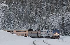Amtrak's California Zephyr at Soda Springs (Jake Miille) Tags: amtrak californiazephyr trains railroad passengertrain superliner sierranevadamountains uprosevillesubdivision donnerpass donnerpassroute sodaspringscalifornia snow winter scenic