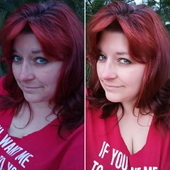 "Day 34 of Year 8- Real versus ""selfie mode"" (Pahz) Tags: 365days selfportrait lgg5 year8 47yearsold diptych comparison beforeafter hairdye overtonehaircolor overtoneextremered middleaged"
