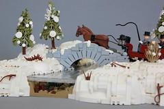 Sleigh Ride (jsnyder002) Tags: lego moc creation sleigh ride snow winter bridge stone landscape ice water drift tree pine technique design cold horse drawn