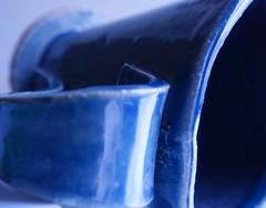 Macro Monday-Glaze (ShannonVanB) Tags: macromondays glaze pottery cup blue upclose handle
