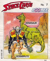 BOOMER / Space Chase 7 (micky the pixel) Tags: ephemera einwickelpapier wrappingpaper papierdemballage vignettes chewinggum kaugummi bubblegum kaugummibilder comic sf scifi sciencefiction boomer spacechase space hornbrute xensaur dinosaur saurier consa