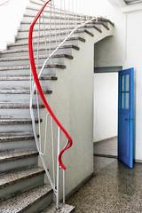 Blue door (michael_hamburg69) Tags: stairs stairway treppe braunschweig germany deutschland brunswick blue red handlauf handrail door