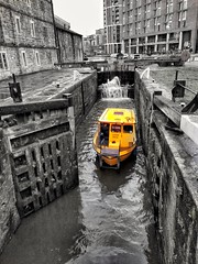 Leeds Dock (tubblesnap) Tags: leeds dock lock gate canal river aire yellow water taxi selective spot colour color