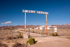 Amboy School (nikons4me) Tags: amboy school ca california ghosttown sign abandoned decay decaying rust rusty fence sigmaaf1850mmf3556dc nikond300 route66