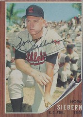 1962 Topps - Norm Siebern #275 (First Base / Outfield) (b. 26 Jul 1933 - d. 30 Oct 2015 at age 82) - Autographed Baseball Card (Kanas City Athletics) (Baseball Autographs Football Coins) Tags: 1962 topps 1962topps baseball cards baseballcard vintage auto autograph graf graph graphed sign signed signature normsiebern kansascityathletics firstbase outfielder