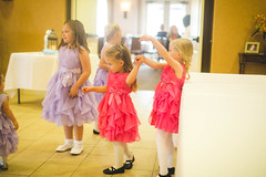 candid flower girls (KieraJo) Tags: 50mm 14 canonef50mmf14usm canon 5d mark 3 iii 5d3 fullframe dslr bokeh wedding reception decor tables lamps bows glasses chairs light airy cache valley logan utah northern four seasons flower girls adorable cute dancing twirl candid