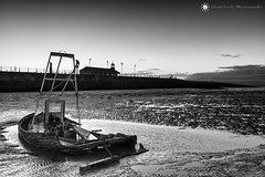 Abandoned Fishing Boat - The Stone Jetty, Morecambe - North West (Silent Eagle  Photography) Tags: sep silent eagle photography silenteaglephotography canon canoneos5dmarkiii bw monochrome abandoned northwest morecambe sea seascape shadows cloud boat rusty water outdoor silenteagle09 thestonejetty fishingboat
