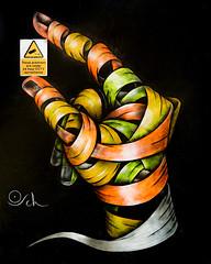 Otto Schade. (Suggsy69) Tags: nikon d5200 ottoschade osch hand fingers holding sign art streetart eastlondon london hanburystreet shoreditch bricklane ribbons