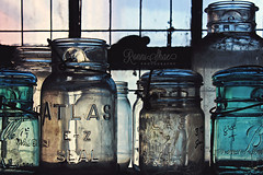 Mason Jars (RonniShae) Tags: window jar mason blue color background white bottle beautiful design decoration old light colorful bright vintage retro object canning photography missouri