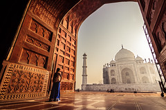Morning Bliss - Agra, India (Kartik Kumar S) Tags: tajmahal taj agra uttarpradesh mehtab bagh sunrise clouds colors borders fences canon 600d tokina 1116mm sunset people architecture monument