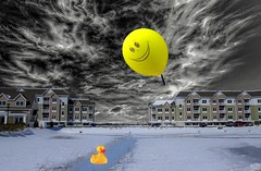 Smiling Down on You (Rusty Russ) Tags: yellow ducky balloon conco ice snow winter cloud down photoshop flickr google bing daum yahoo image stumbleupon facebook getty national geographic magazine creative creativity montage composite manipulation color hue saturation flickrhivemind pinterest reddit flickriver t pixelpeeper blog blogs openuniversity flic twitter alpilo commons wiki wikimedia worldskills lady duck candid country street scenery self sun set water sky red bue green art light
