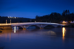 Blue hour bridge (Roger.C) Tags: chepstow river riverwye wye wyevalley water reflection riverbank bluehour thebluehour blue bluesky night dark dusk nightshot nocturnal longexposure timeexposure monmouthshire bridge bridges lights lighting wfc wales southwales nikon tamron d610 2470mm 2470 beauty beautiful