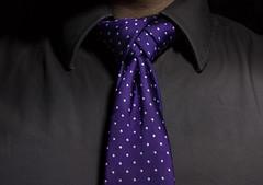 Necktie; Glennie Braided Knot (Hejemoni (@fbauzonx on Instagram)) Tags: shirt key purple low knot polka dots necktie