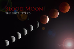 Blood Moon: The First Tetrad (David Gn Photography) Tags: shadow red sky usa sun moon night oregon poster lens eclipse blood glow view unitedstates earth first flare pacificnorthwest northamerica multiple astronomy phase lunar celestial bloodmoon exposures align tetrad 041404