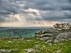 Rays of Light (lulahbubb) Tags: light green grass clouds granite rays tor dartmoor hdr