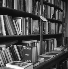 The Spinster & The Prophet (BunnySafari) Tags: bw guelph books bookstore bookshop on yashicamat124g fpp kodak400tmax macondobooks april2014 thespinstertheprophet