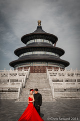 Heavenly Bride (cseward) Tags: china travel wedding red people color geotagged temple groom bride asia beijing desaturated 2014 padoga heavenandearth