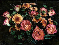 Bouquet for my friends. (Bessula) Tags: roses summer flower texture nature garden spring gift bouquet asters bessula