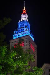 The Terminal Tower (Brad Hartig) Tags: blue windows ohio red white building tree tower art stone night dark gold leaf nikon cleveland arches terminal tamron d800