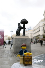 Travels of badger - Bear and the Madroo Tree in the Puerta del Sol (enigmabadger) Tags: madrid trip vacation espaa spain europe lego fig eu spanish minifig custom peninsula minifigure iberian brickarms