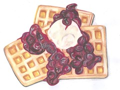 Waffles, cherry jam and vanilla ice-cream (carol.francomoran) Tags: original food art kitchen illustration breakfast pencils painting cherry yummy artwork cherries sweet mixedmedia fine arts delicious foodies icecream brunch watercolour illustrator gouache jam waffles foodart americanfood foodillustration carolfrancomoran