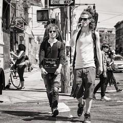 street musicians (Gerard Koopen) Tags: street nyc newyorkcity bw musician usa newyork sunglasses musicians brooklyn nikon eyecontact artist guitar candid unitedstatesofamerica streetphotography 85mm d800 2014 openstudios buswick straatfotografie verenigdestaten
