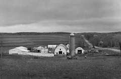 Eau Claire County Farm (Citizen 4474) Tags: bw mamiya film wisconsin barn analog rural mediumformat kodak tmax farm farmland silo eauclaire c33