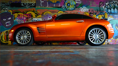 custom chrysler crossfire srt6. chrysler crossfire custom orange paint graffiti garage tacoma washington srt6
