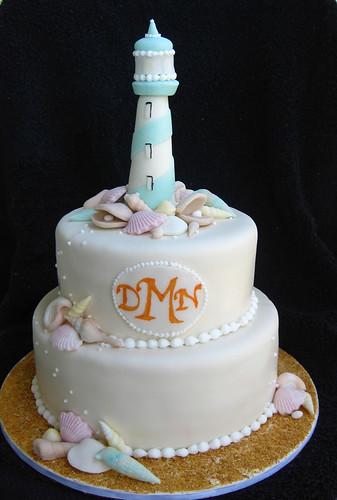 Lighthouse and Sea Shells Wedding cake