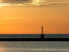Breakwater Sunrise (John J. Van Norman (was jjvannorman)) Tags: urban chicago beach places lakemichigan dslr dogpark cameraphotooptions copyright2014johnjvannorman