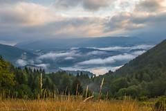 Zaovine Lake (Irene Becker) Tags: morning summer fog sunrise landscape cloudy serbia balkan srbija taramountain zaovine zaovinskojezero bajinabata westserbia zlatibordistrict irenebecker nacionalniparktara zaovinelake imagesofserbia irenebeckereu