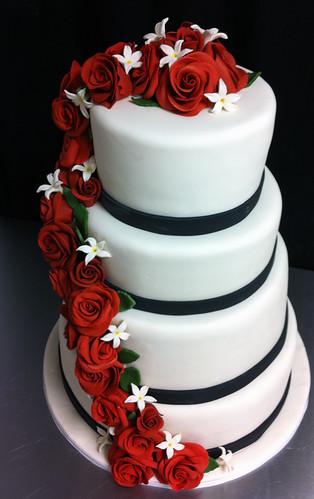 Classic Red Rose Cascade Wedding Cake
