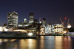 London over the Thames (Stef. Broos) Tags: city longexposure london thames lights ship skyscrapers soutbank