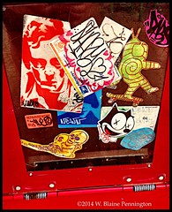Stickered Street Art Sticker Art News Box Silver Spring (Zzzzt!Zzzzt!) Tags: streetart stickerart silverspring newsbox
