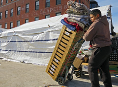 BostonTallOrder (fotosqrrl) Tags: urban boston massachusetts streetphotography tent worker boxes blankets haymarket tarp handtruck blackstonestreet