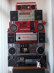 MINI COLLECTION (mrs80) Tags: sharp qt 37 toshiba rt sx4 panasonic rx c52 akai pj 33 boombox mini collection ghettoblaster radio cassette stereo anlage grabador radiocasetofon vintage