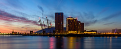 Blue and golden morning (Aleem Yousaf) Tags: blue hour golden morning photo walk london docklands millennium dome theo2 sky clouds river thames sunrise architecture inter continental hotel reflections long exposure