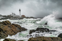 Ocean Storm at Portland Head (BenjaminMWilliamson) Tags: attraction big clouds coast coastal destination fury gifts historic icon iconic image landmark landscape large me maine newengland ocean photo photography power powerful prints rocky scenery scenic sea seascape sky storm stormy tourism tourist usa waves