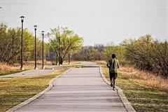 Heading South (brev99) Tags: d610 tamron70300vc riverwalk tulsa jogger path blacktop trees grass perfecteffects17 ononesoftware photoshopelements12
