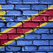 National Flag of Congo Democratic, Republic of the on a Brick Wall