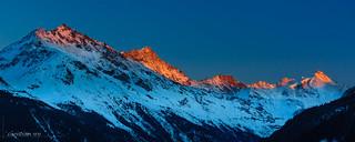 Last sun ligth on the tops (Switzerland)