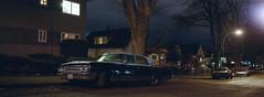 Neighbourhood relic (Orion Alexis) Tags: film 35mm analog analogue panorama kodak ultramax 400 vintage cars fujifilm tx1 xpan old antique vancouver night photography long exposure