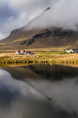 Arnarstapi Snæfellsnesi (icecold46) Tags: iceland ísland cloud ský sveitabær farm lake vatn reflection speglun haust1996 snæfellsnes