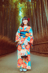 Portrait at The Bamboo Forest (Luis Montemayor) Tags: japan japon bambooforest forest bamboo girl chica woman kyoto kimono 50mm