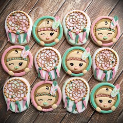 Baja Chic Baby (cREEative_Cookies) Tags: baby shower cookies baja chic kawaii cute adorable babies its girl boy feathers indian native american decorated sugar custom art edible babyshower harry potter elephant birds mason jar lace delicate flower sports blessed baptism crib teddy bear kokeshi dolls sunshine clouds happy flowers girly boyish theme royal icing baked roses daisies fondant booties shoes onesies bibs personalized sugarveil