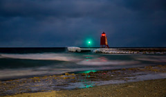 Rough Waters at the Lighthouse - Night (Explored) (T P Mann Photography) Tags: charlevoix michigan lake pier ice icy bitter cold waves sea seascape beach night long exposure dark low light lighthouse explore explored