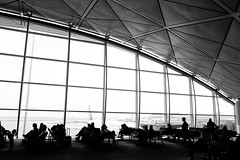 Waiting for the Plane (Gomen S) Tags: urban abstract people architecture landscape view sony sonyflickraward rx100v bw blackandwhite morning spring 2017 hk hongkong china asia tropical