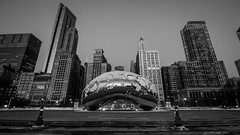 The bean (selo0901) Tags: blackandwhite snow chicago cloudgate sunrise thebean