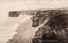 Marsden Bay & Rock (SouthShieldsPostcards) Tags: marsden bay rock stacks south shields postcard old photo photograph sea sand beach